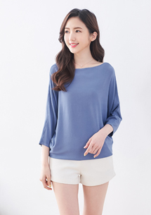 七分袖針織衫-灰藍
