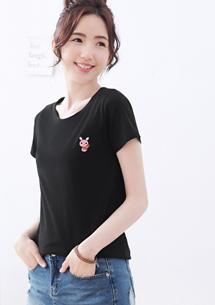 繡花純棉圓領T恤