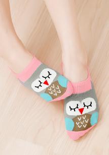 貓頭鷹涼感船型襪
