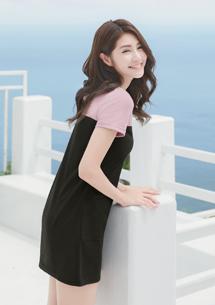 細毛圈配色洋裝