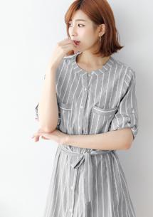 條紋長版洋裝