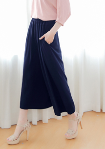 鬆緊腰寬版褲裙-深藍