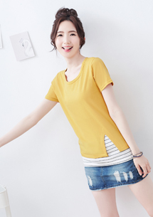 配色條紋短袖上衣-芥黃