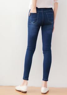 刷色窄管牛仔褲-深藍