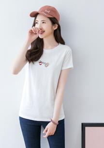 刺繡竹節棉T恤
