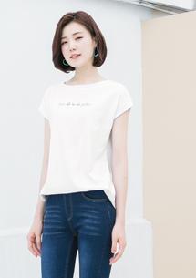 純棉落肩長版T恤