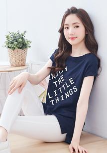 竹節棉印花長版T恤