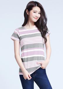 四面彈彩色條紋T恤