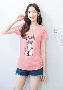 兔子刺繡竹節棉上衣