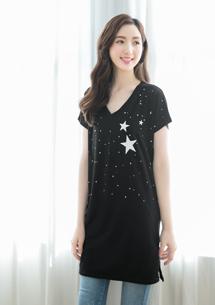 星星四面彈長版上衣