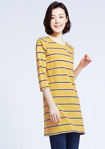 彩色條紋長版上衣-芥黃