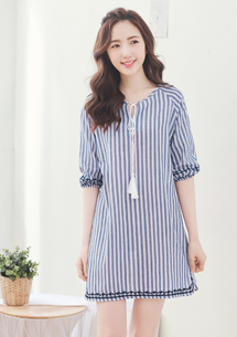 棉麻條紋洋裝