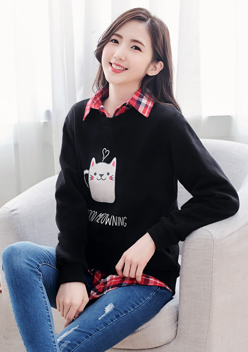 杯子貓咪印花刷毛T恤