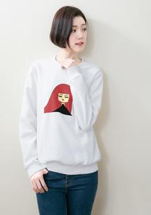 長髮女孩印花刷毛T恤