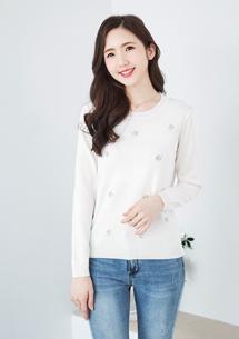 刺繡針織衫-白