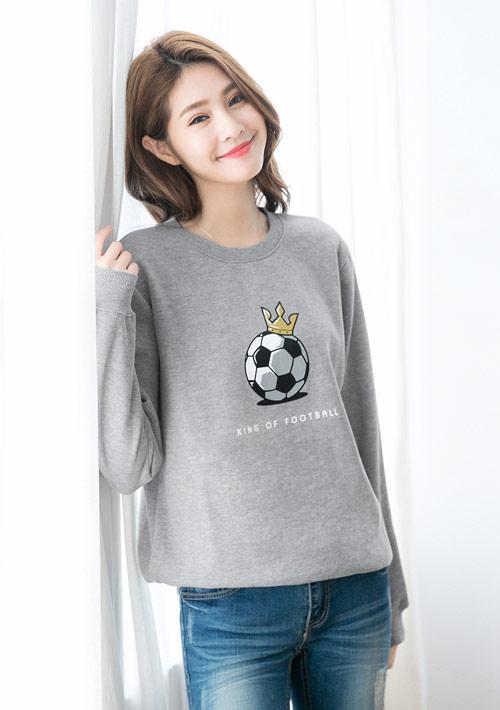 足球之王印花刷毛T恤-灰