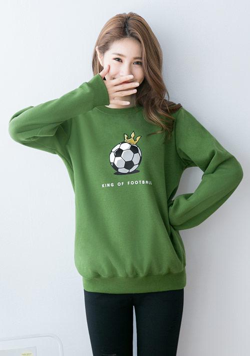 足球之王印花刷毛T恤-綠