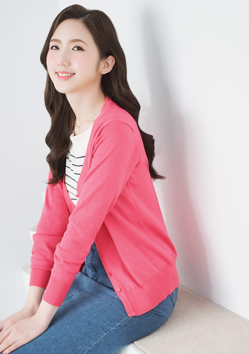 針織外套-桃紅