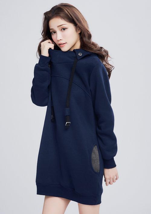 暖感刷毛連帽洋裝-深藍