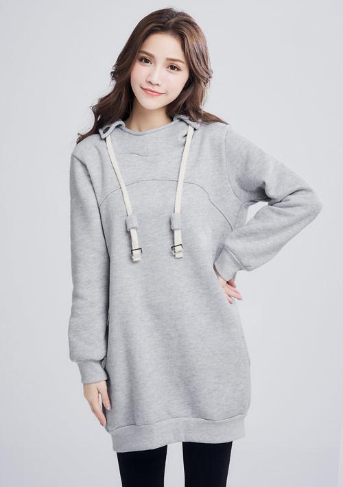 暖感刷毛連帽洋裝-淺灰