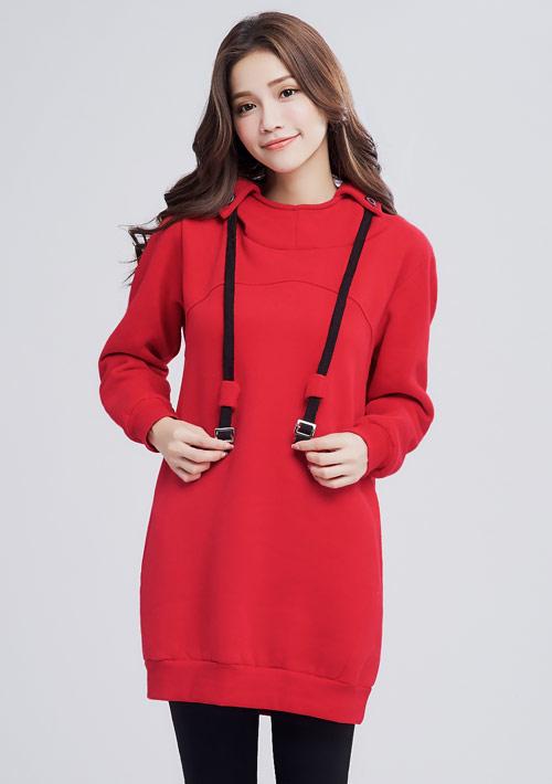 暖感刷毛連帽洋裝-紅