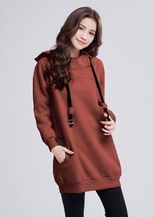 暖感刷毛連帽洋裝-磚紅