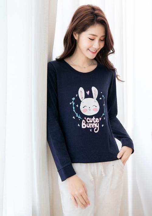 Cute Bunny精梳棉圓領長袖印花T恤