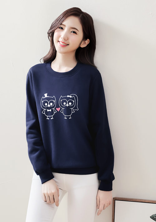 戀人貓頭鷹印花刷毛T恤