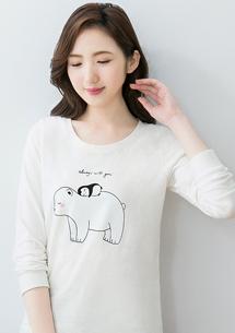 大熊&小企鵝精梳棉圓領印花T恤