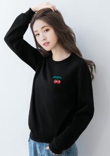 Cherry繡花刷毛T恤
