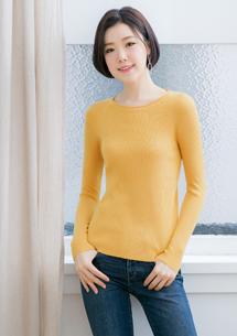 捲領針織上衣-芥黃