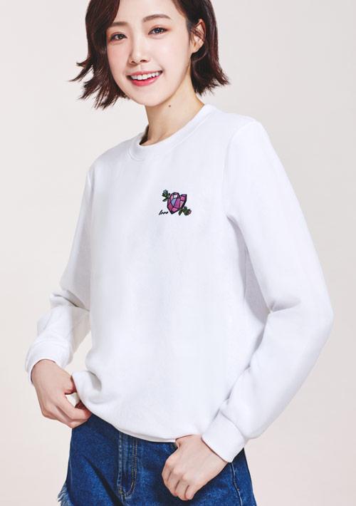 鑽石花電繡刷毛T恤