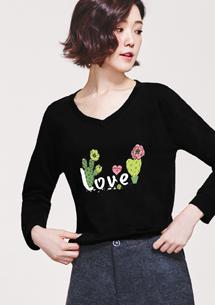 Love仙人掌精梳棉V領印花T恤