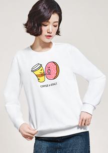 甜甜圈配咖啡印花刷毛T恤
