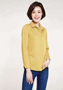 長袖襯衫-芥黃