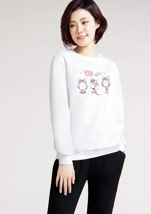 Yoga貓咪印花刷毛T恤-白