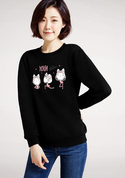 Yoga貓咪印花刷毛T恤