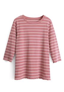 羅紋捲邊條紋T恤