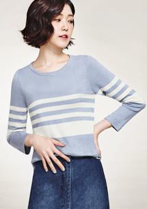 條紋配色七分袖針織衫