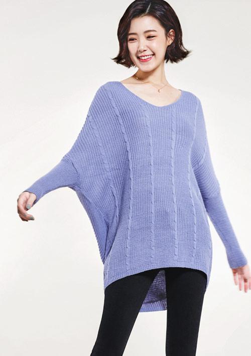 V領長版針織毛衣
