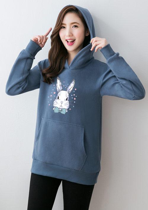 星星兔印花刷毛連帽T恤-藍