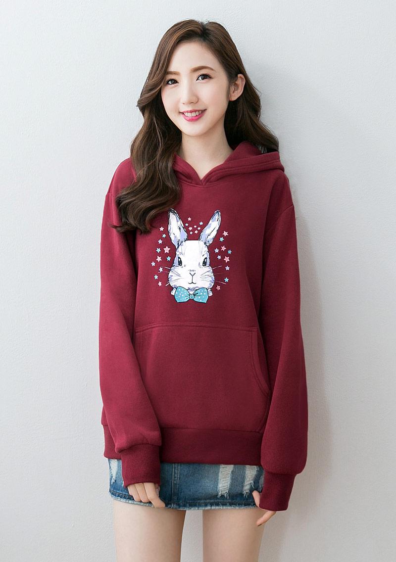 星星兔印花刷毛連帽T恤
