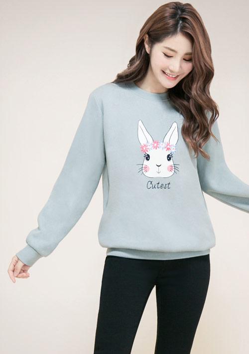 花環兔印花刷毛T恤