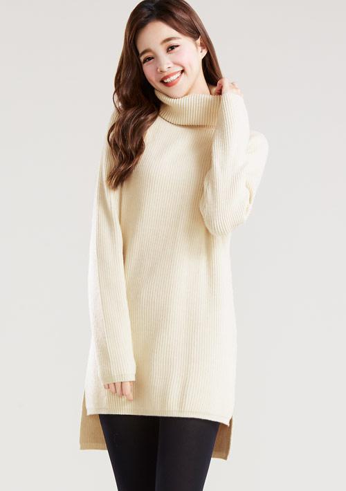 側開衩針織高領毛衣