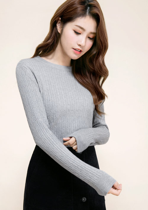 麻花織紋針織衫