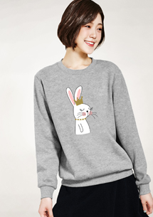 皇冠兔印花刷毛T恤