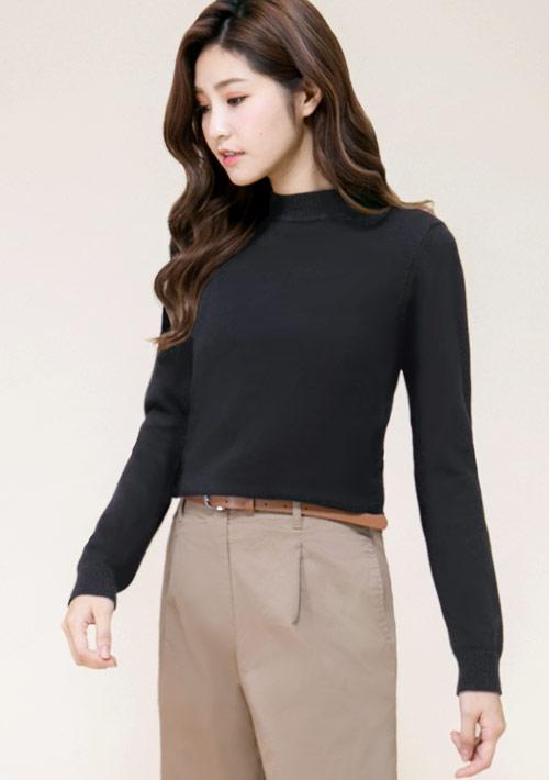 棉質小高領針織衫