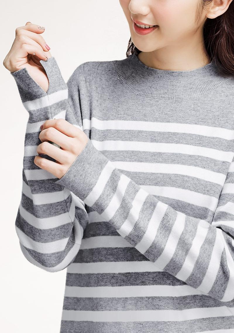 小立領配色針織衫