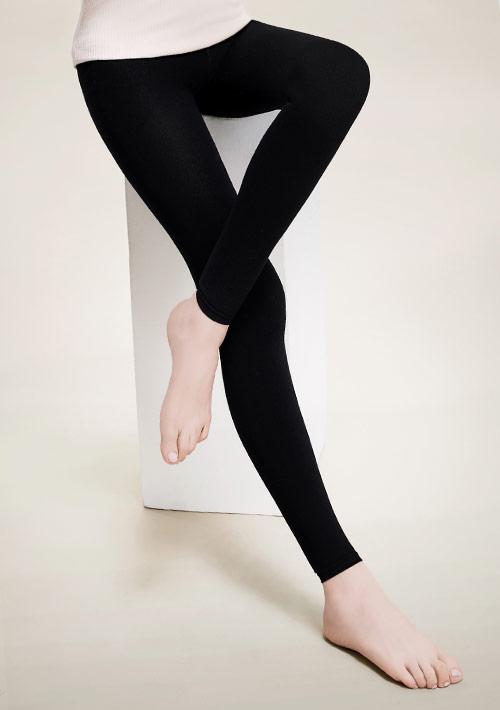 刷毛九分褲襪-黑