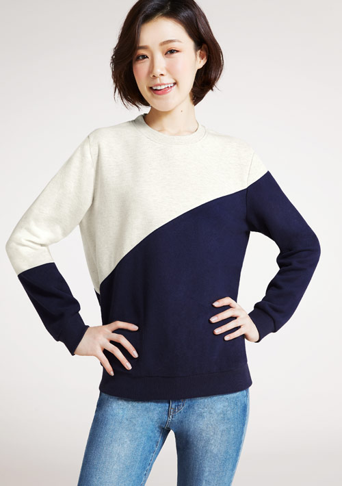 圓領斜配色刷毛T恤